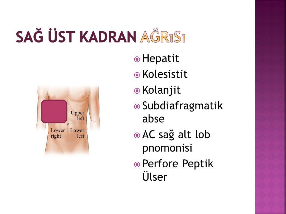  Hepatit  Kolesistit  Kolanjit  Subdiafragmatik abse  AC sağ alt lob pnomonisi  Perfore Peptik Ülser