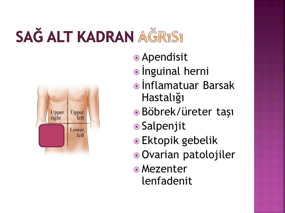  Apendisit  İnguinal herni  İnflamatuar Barsak Hastalığı  Böbrek/üreter taşı  Salpenjit  Ektopik gebelik  Ovarian patolojiler  Mezenter lenfad