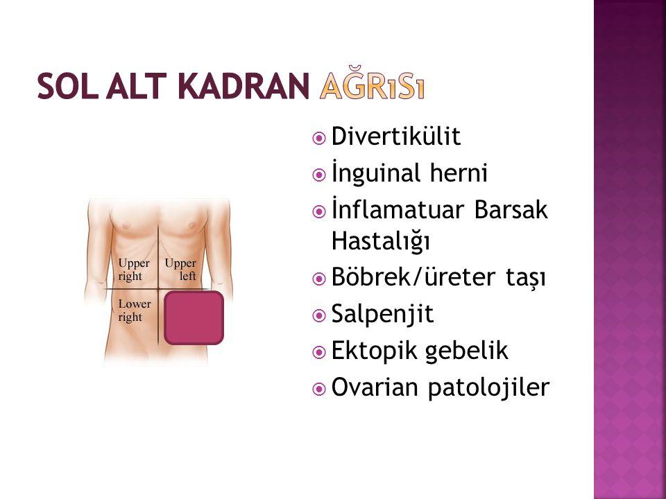  Divertikülit  İnguinal herni  İnflamatuar Barsak Hastalığı  Böbrek/üreter taşı  Salpenjit  Ektopik gebelik  Ovarian patolojiler