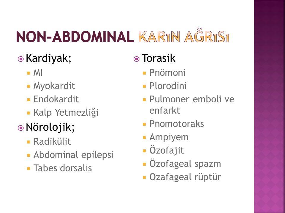  Kardiyak;  MI  Myokardit  Endokardit  Kalp Yetmezliği  Nörolojik;  Radikülit  Abdominal epilepsi  Tabes dorsalis  Torasik  Pnömoni  Ploro