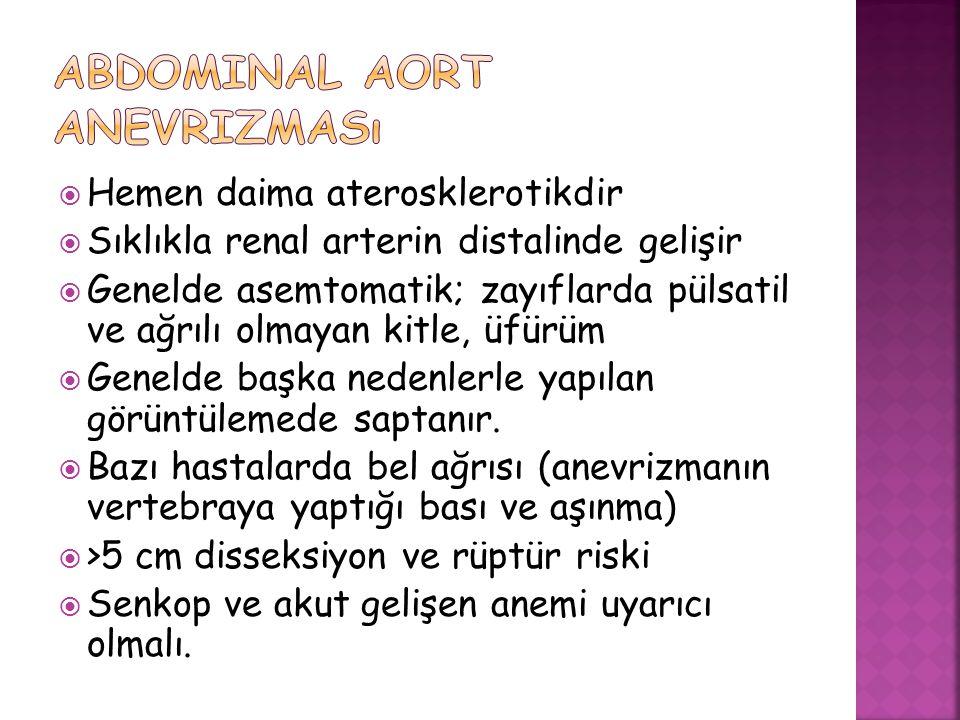  Hemen daima aterosklerotikdir  Sıklıkla renal arterin distalinde gelişir  Genelde asemtomatik; zayıflarda pülsatil ve ağrılı olmayan kitle, üfürüm