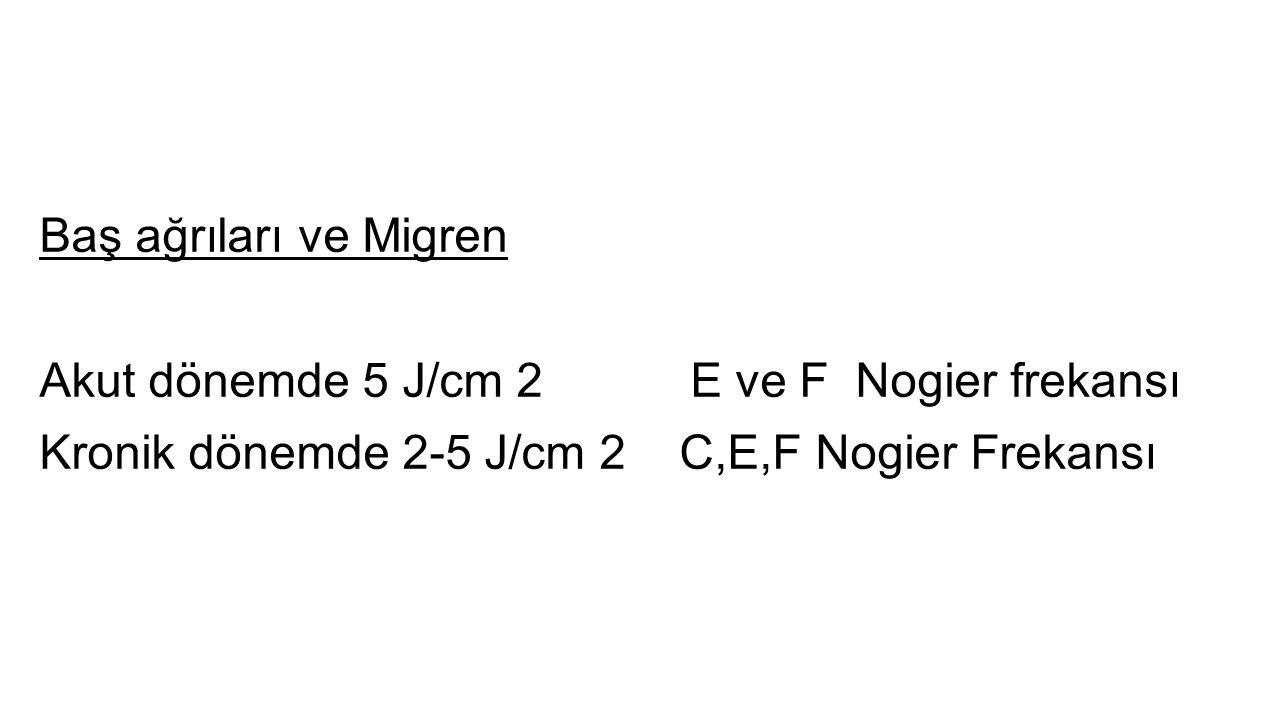 Baş ağrıları ve Migren Akut dönemde 5 J/cm 2 E ve F Nogier frekansı Kronik dönemde 2-5 J/cm 2 C,E,F Nogier Frekansı