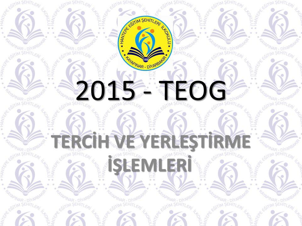 2015 ORTAÖĞRETİM KURUMLARI TERCİH VE YERLEŞTİRME TAKVİMİ TARİHİŞLEM 08 Haziran 2015Ortak Sınav Puanlarının İlanı 24 Haziran 2015Tercihlere Esas Kontenjan Tablolarının İlanı 24 Haziran 20158'inci Sınıf Yerleştirmeye Esas Puanların (YEP) İlanı 24 Haziran 2015 05 Temmuz 2015 Temel Eğitimden Ortaöğretime Geçiş Sistemi Kapsamında Yapılan Merkezi Sistem Ortak Sınavlarının Tamamını veya Bir Kısmını Kullanan Özel Okulların Kayıt İşlemleri 10 Temmuz 2015 Güzel Sanatlar Lisesi ve Spor Liselerine Öğrenci Kayıtlarının Tamamlanması Ancak, söz konusu okullara kayıt yaptıran öğrenciler, yerleştirme ve yerleştirmeye esas nakil tercihleri doğrultusunda bir okula yerleşmeleri hâlinde önceki okul (Güzel Sanatlar Lisesi veya Spor Lisesi) hakkından vazgeçmiş sayılacaklardır.