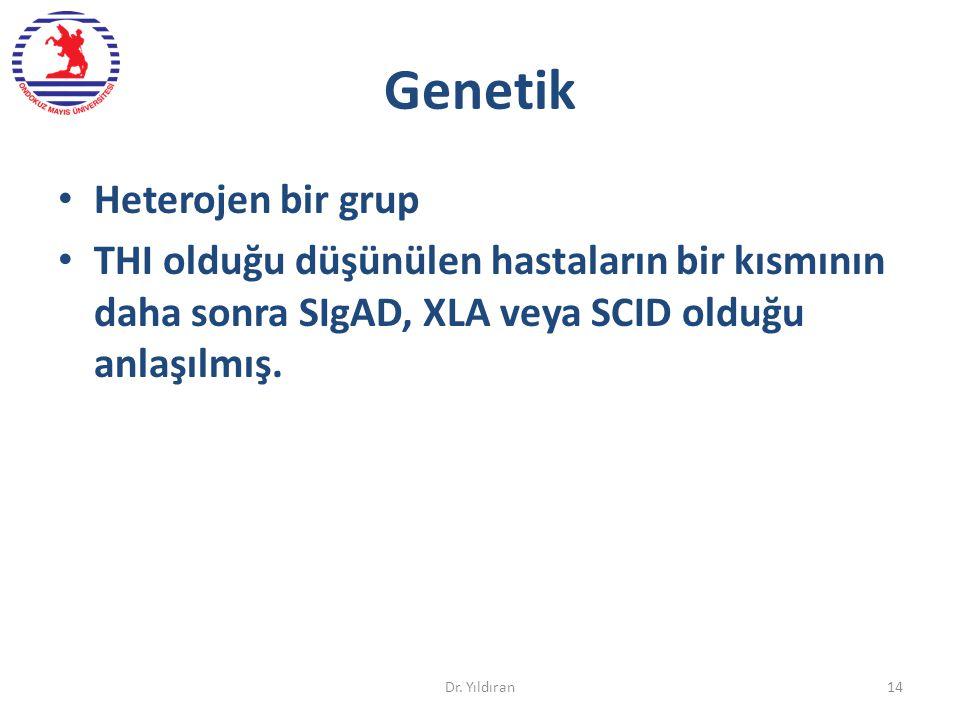 Genetik Heterojen bir grup THI olduğu düşünülen hastaların bir kısmının daha sonra SIgAD, XLA veya SCID olduğu anlaşılmış. Dr. Yıldıran14