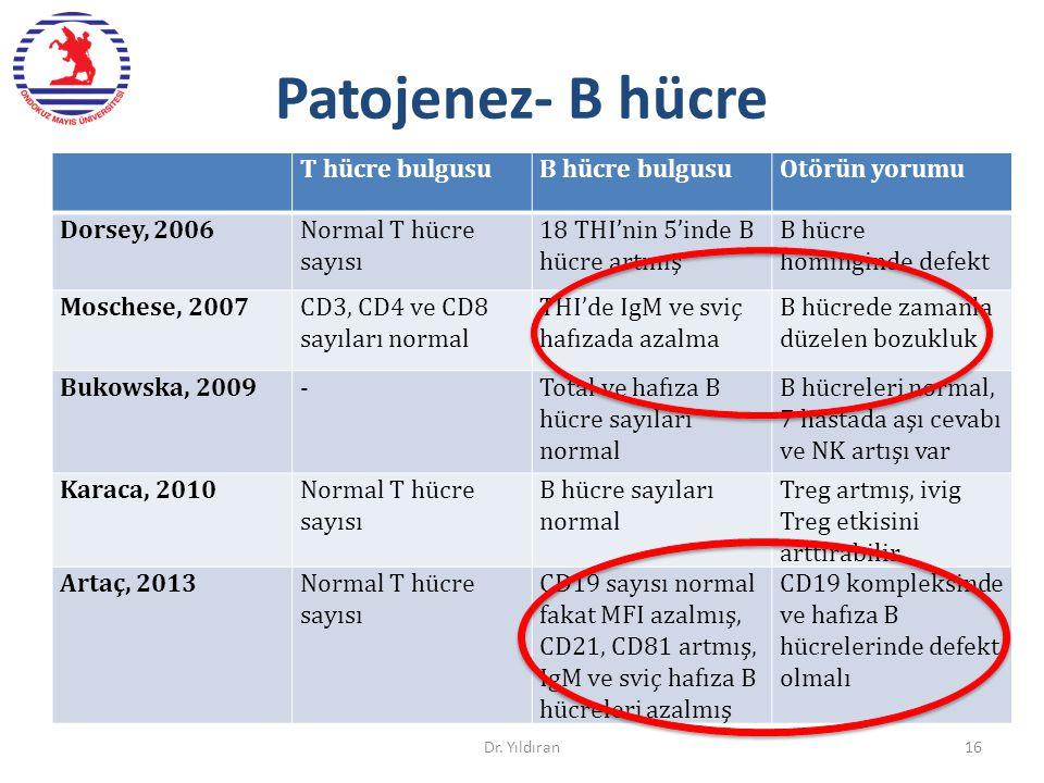 Patojenez- B hücre T hücre bulgusuB hücre bulgusuOtörün yorumu Dorsey, 2006Normal T hücre sayısı 18 THI'nin 5'inde B hücre artmış B hücre hominginde d