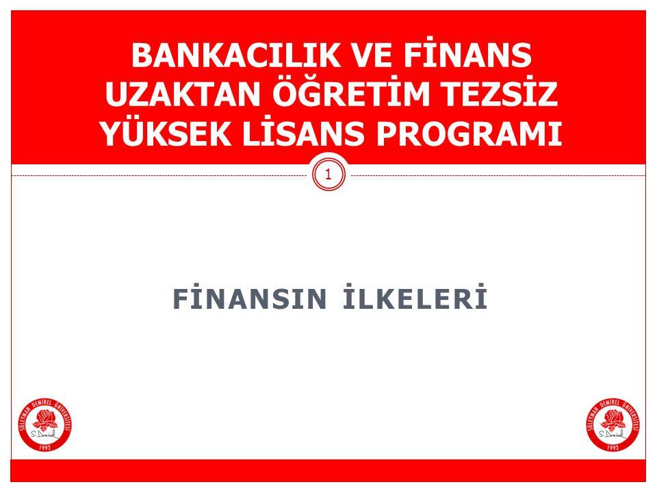 FİNANSAL PİYASALARA GİRİŞ II Bankacılık ve Finans Uzaktan Öğretim Tezsiz Yüksek Lisans Programı 2 BÖLÜM 2