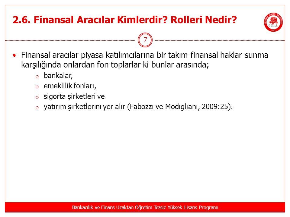 2.6.Finansal Aracılar Kimlerdir. Rolleri Nedir.