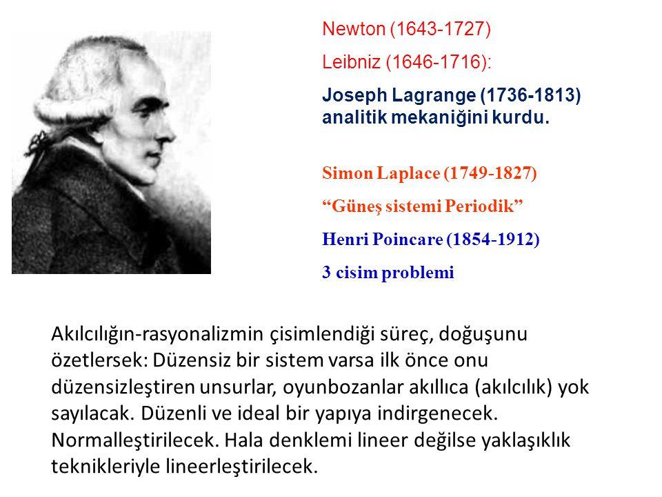 Newton (1643-1727) Leibniz (1646-1716): Joseph Lagrange (1736-1813) analitik mekaniğini kurdu.