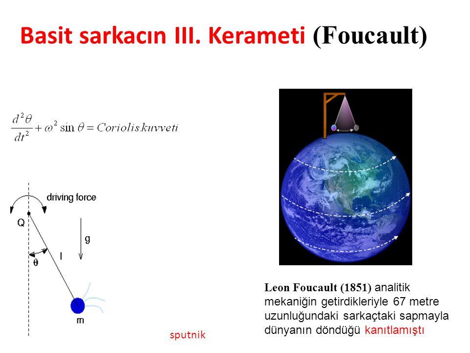Leon Foucault (1851) analitik mekaniğin getirdikleriyle 67 metre uzunluğundaki sarkaçtaki sapmayla dünyanın döndüğü kanıtlamıştı sputnik Basit sarkacın III.