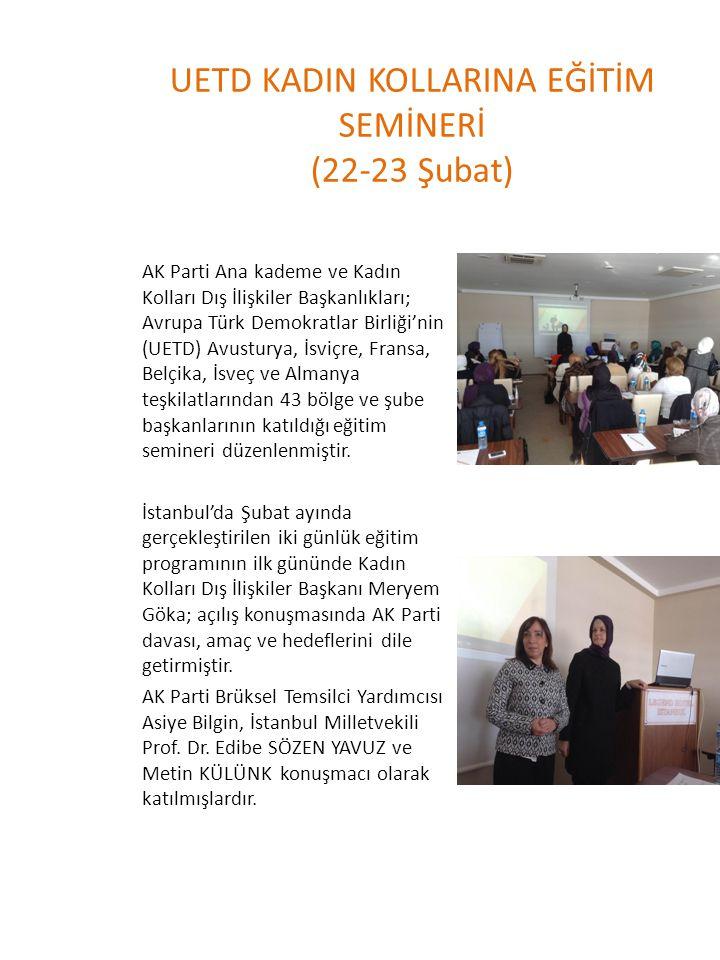 UETD KADIN KOLLARINA EĞİTİM SEMİNERİ (22-23 Şubat) AK Parti Ana kademe ve Kadın Kolları Dış İlişkiler Başkanlıkları; Avrupa Türk Demokratlar Birliği'n