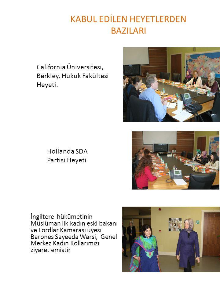 KABUL EDİLEN HEYETLERDEN BAZILARI Hollanda SDA Partisi Heyeti California Üniversitesi, Berkley, Hukuk Fakültesi Heyeti. İngiltere hükümetinin Müslüman