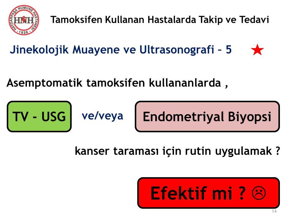 Tamoksifen Kullanan Hastalarda Takip ve Tedavi Jinekolojik Muayene ve Ultrasonografi – 5 Asemptomatik tamoksifen kullananlarda, ve/veya kanser taramas