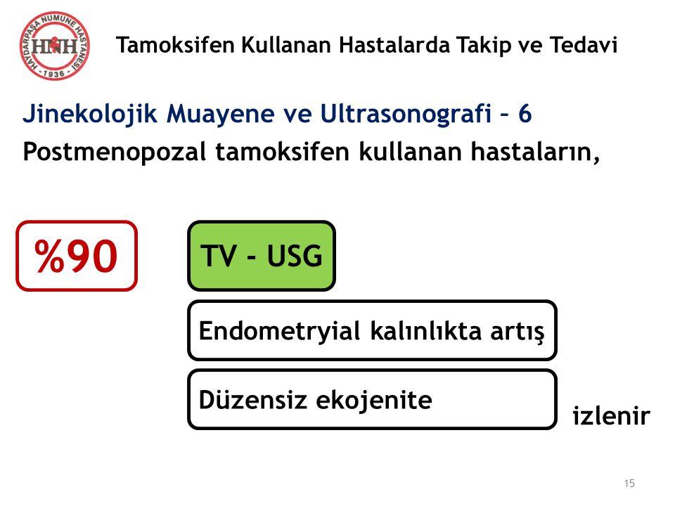 Tamoksifen Kullanan Hastalarda Takip ve Tedavi Jinekolojik Muayene ve Ultrasonografi – 6 Postmenopozal tamoksifen kullanan hastaların, izlenir %90 TV