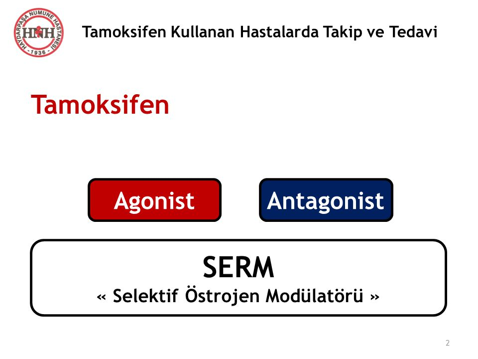 Tamoksifen Kullanan Hastalarda Takip ve Tedavi AgonistAntagonist SERM « Selektif Östrojen Modülatörü » Tamoksifen 2