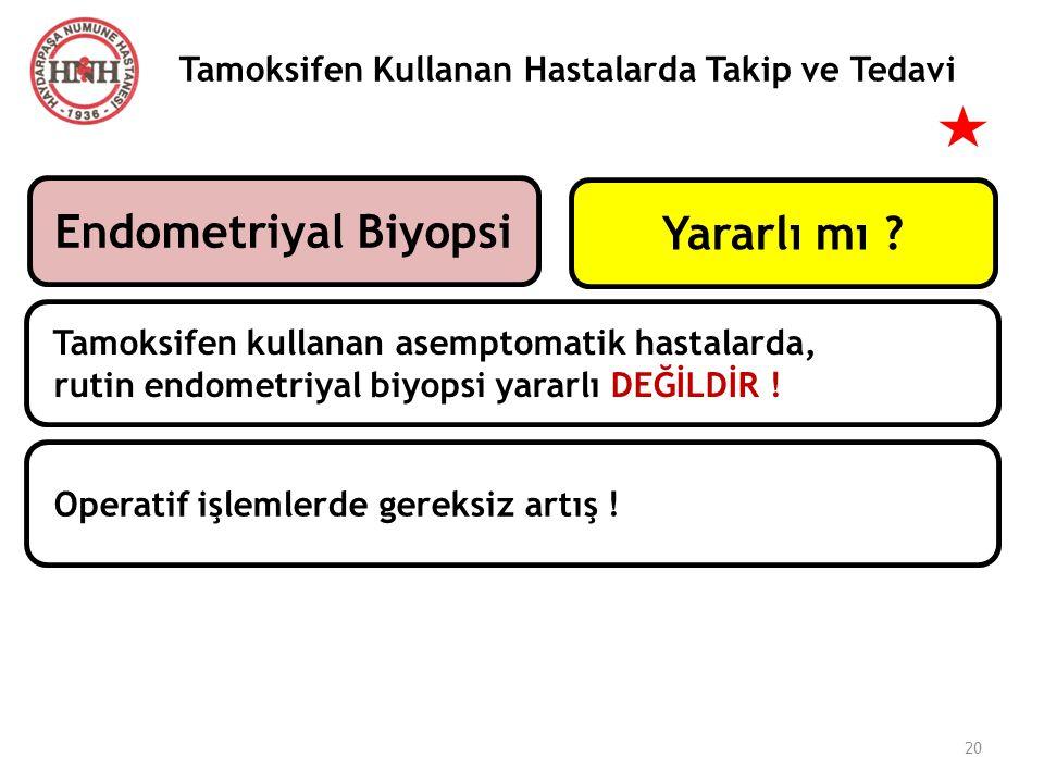 Tamoksifen Kullanan Hastalarda Takip ve Tedavi Endometriyal Biyopsi Tamoksifen kullanan asemptomatik hastalarda, rutin endometriyal biyopsi yararlı DE