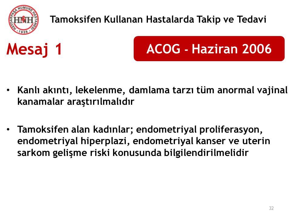 32 Tamoksifen Kullanan Hastalarda Takip ve Tedavi ACOG - Haziran 2006 Mesaj 1 Kanlı akıntı, lekelenme, damlama tarzı tüm anormal vajinal kanamalar ara