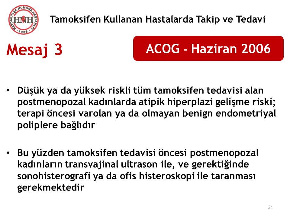 34 Tamoksifen Kullanan Hastalarda Takip ve Tedavi Mesaj 3 Düşük ya da yüksek riskli tüm tamoksifen tedavisi alan postmenopozal kadınlarda atipik hiper