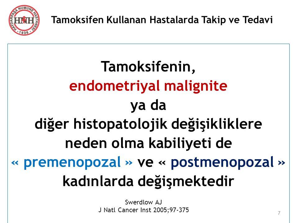 Tamoksifen Kullanan Hastalarda Takip ve Tedavi Uterus Sarkomu İlk çalışmalar, uterus sarkomu riskini kanıtlayamıyor Uzun dönem izlem raporları : Uterus Karsinosarkom Malign Mikst Müllerian Tümör veya « insidansında çok küçük artış .