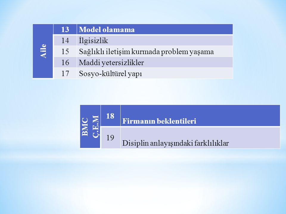 Aile 13 Model olamama 14 İlgisizlik 15 Sağlıklı iletişim kurmada problem yaşama 16 Maddi yetersizlikler 17 Sosyo-kültürel yapı BMC Ç.E.M 18 Firmanın b