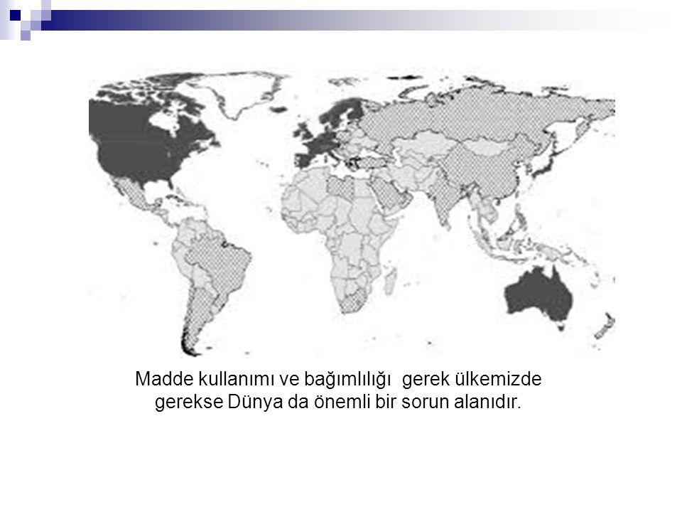 Avrupa ülkelerinde Madde Kullanım oranı ortalaması %20 üzerindedir.