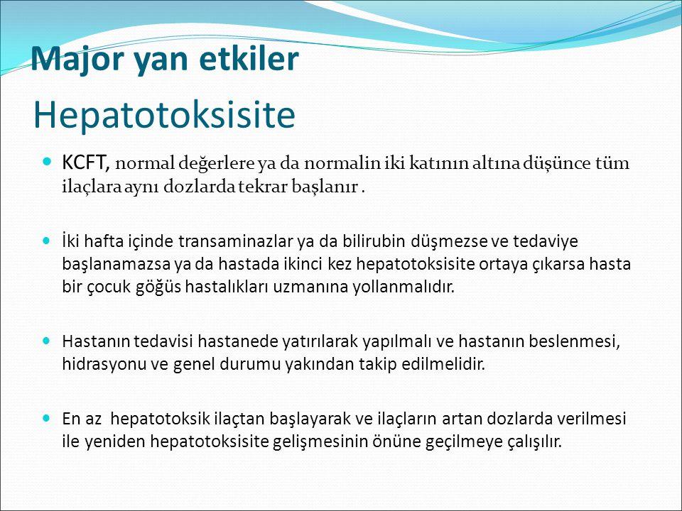 Hepatotoksisite KCFT, normal değerlere ya da normalin iki katının altına düşünce tüm ilaçlara aynı dozlarda tekrar başlanır. İki hafta içinde transami