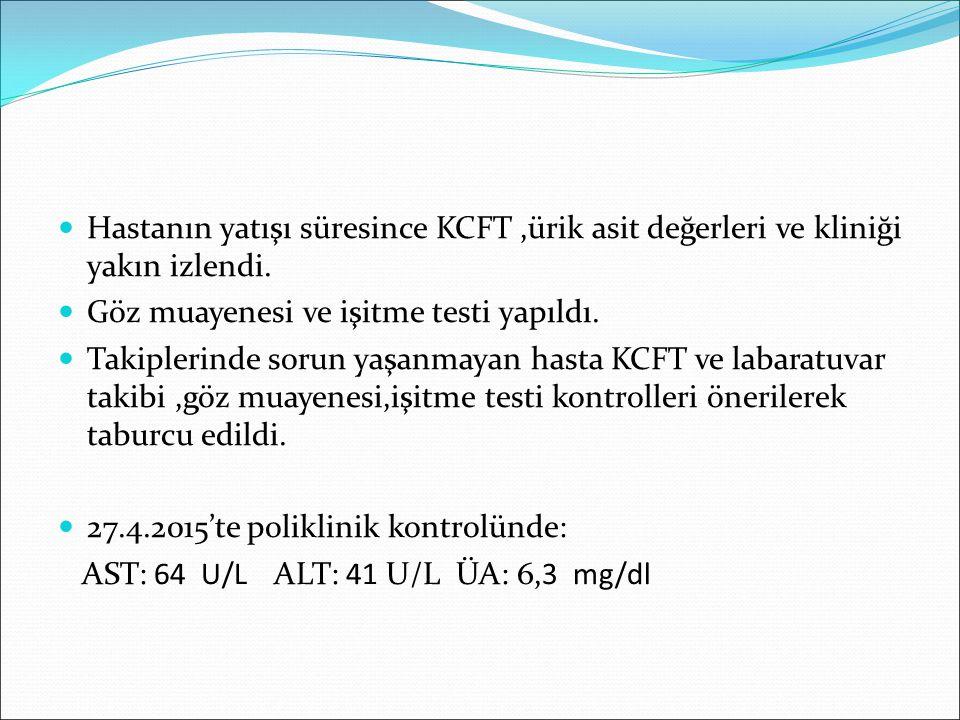 Hastanın yatışı süresince KCFT,ürik asit değerleri ve kliniği yakın izlendi. Göz muayenesi ve işitme testi yapıldı. Takiplerinde sorun yaşanmayan hast