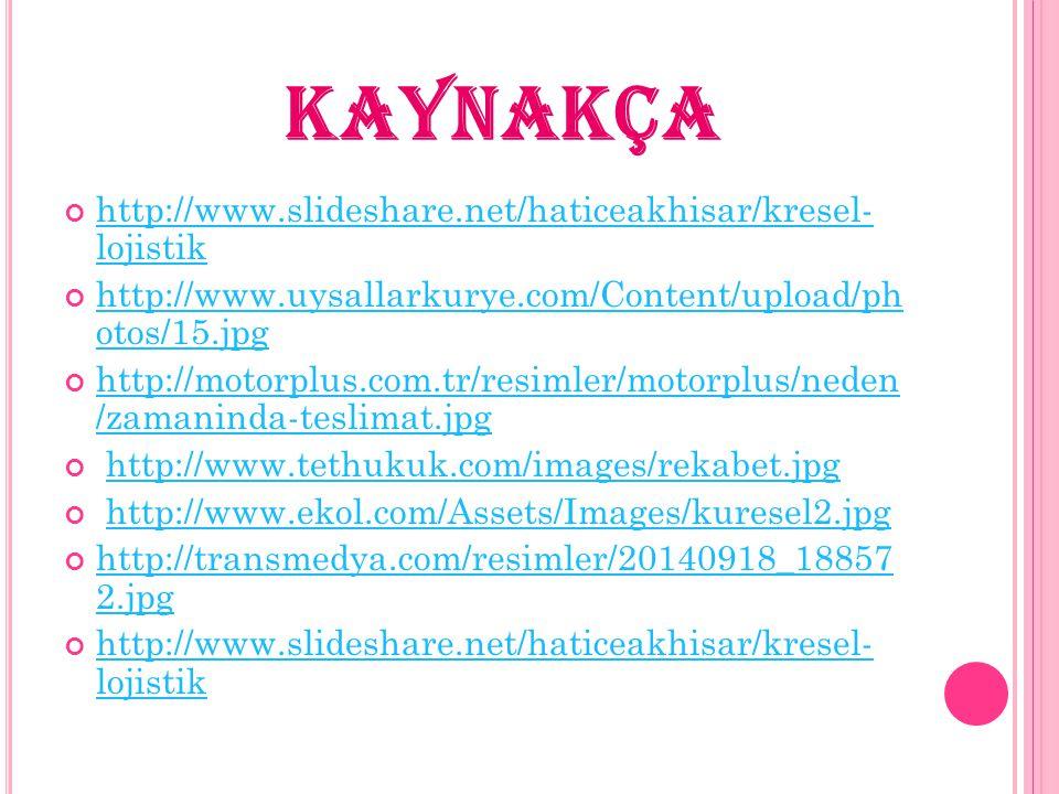 KAYNAKÇA http://www.slideshare.net/haticeakhisar/kresel- lojistik http://www.uysallarkurye.com/Content/upload/ph otos/15.jpg http://motorplus.com.tr/r