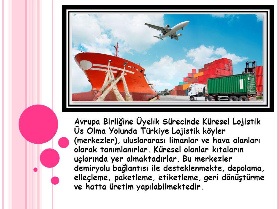 Avrupa Birliğine Üyelik Sürecinde Küresel Lojistik Üs Olma Yolunda Türkiye Lojistik köyler (merkezler), uluslararası limanlar ve hava alanları olarak
