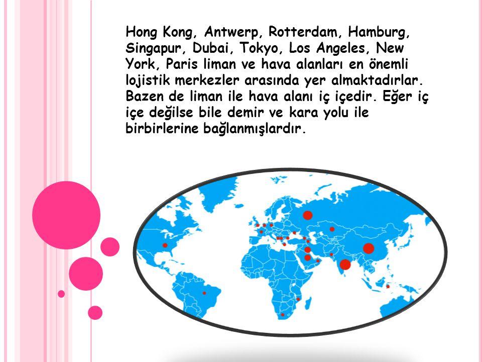 Hong Kong, Antwerp, Rotterdam, Hamburg, Singapur, Dubai, Tokyo, Los Angeles, New York, Paris liman ve hava alanları en önemli lojistik merkezler arası