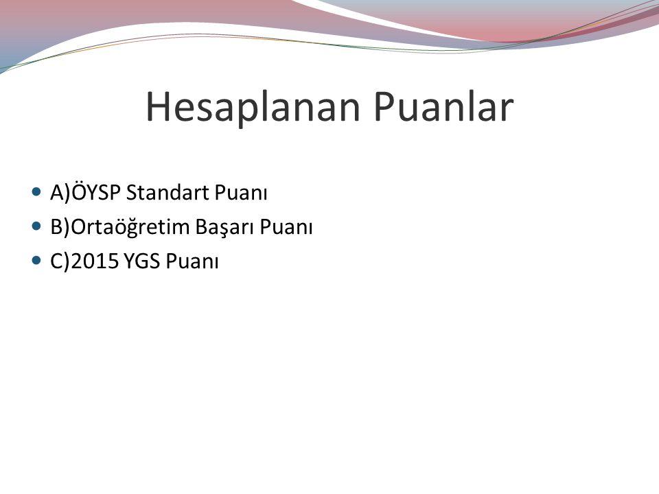 Hesaplanan Puanlar A)ÖYSP Standart Puanı B)Ortaöğretim Başarı Puanı C)2015 YGS Puanı