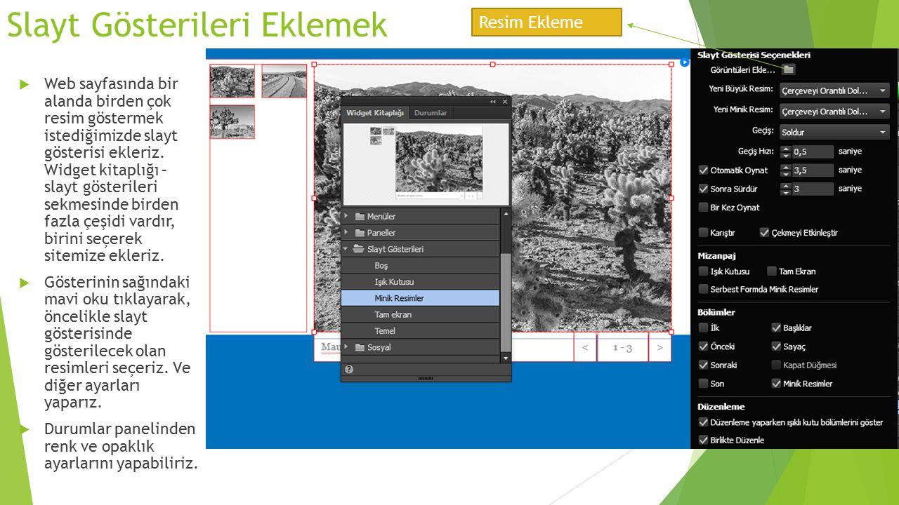 Slayt Gösterileri Eklemek  Web sayfasında bir alanda birden çok resim göstermek istediğimizde slayt gösterisi ekleriz. Widget kitaplığı – slayt göste