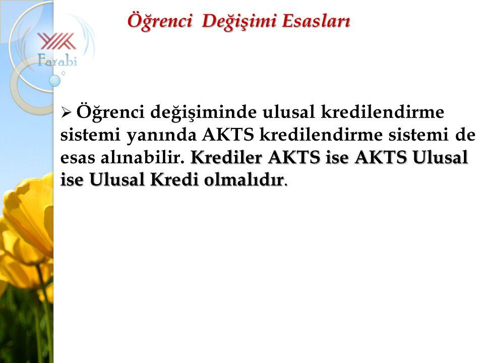 Krediler AKTS ise AKTS Ulusal ise Ulusal Kredi olmalıdır.