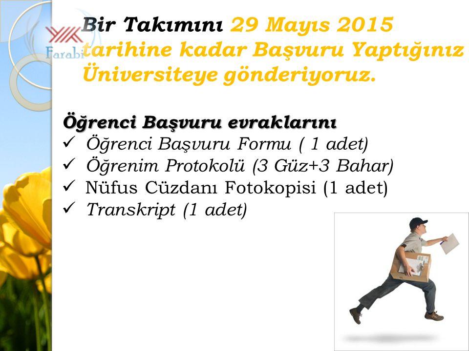 Öğrenci Başvuru evraklarını Öğrenci Başvuru Formu ( 1 adet) Öğrenim Protokolü (3 Güz+3 Bahar) Nüfus Cüzdanı Fotokopisi (1 adet) Transkript (1 adet) Bir Takımını 29 Mayıs 2015 tarihine kadar Başvuru Yaptığınız Üniversiteye gönderiyoruz.