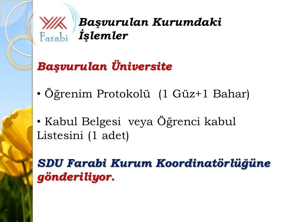 Başvurulan Üniversite Öğrenim Protokolü (1 Güz+1 Bahar) Kabul Belgesi veya Öğrenci kabul Listesini (1 adet) SDU Farabi Kurum Koordinatörlüğüne gönderiliyor.