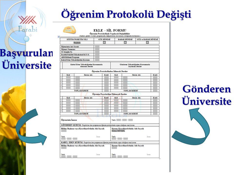 Öğrenim Protokolü Değişti Gönderen Üniversite Başvurulan Üniversite