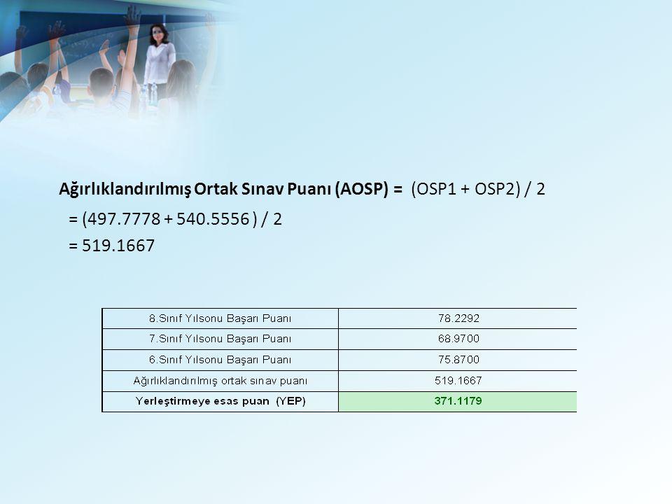 Ağırlıklandırılmış Ortak Sınav Puanı (AOSP) = (OSP1 + OSP2) / 2 = (497.7778 + 540.5556 ) / 2 = 519.1667
