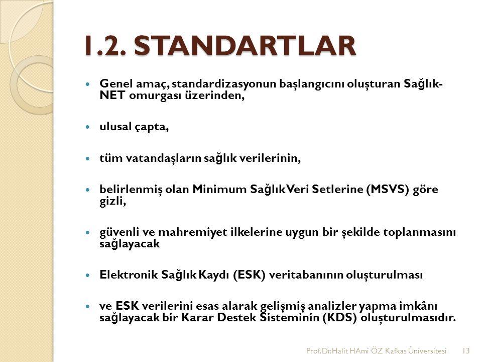 1.2. STANDARTLAR Genel amaç, standardizasyonun başlangıcını oluşturan Sa ğ lık- NET omurgası üzerinden, ulusal çapta, tüm vatandaşların sa ğ lık veril