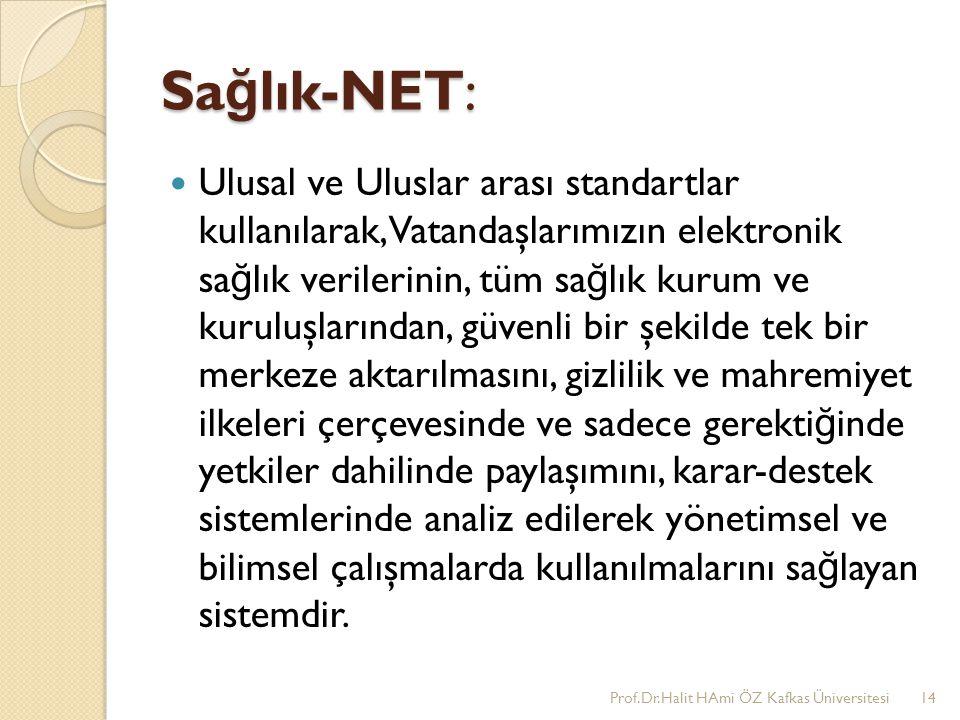 Sa ğ lık-NET: Ulusal ve Uluslar arası standartlar kullanılarak, Vatandaşlarımızın elektronik sa ğ lık verilerinin, tüm sa ğ lık kurum ve kuruluşlarınd