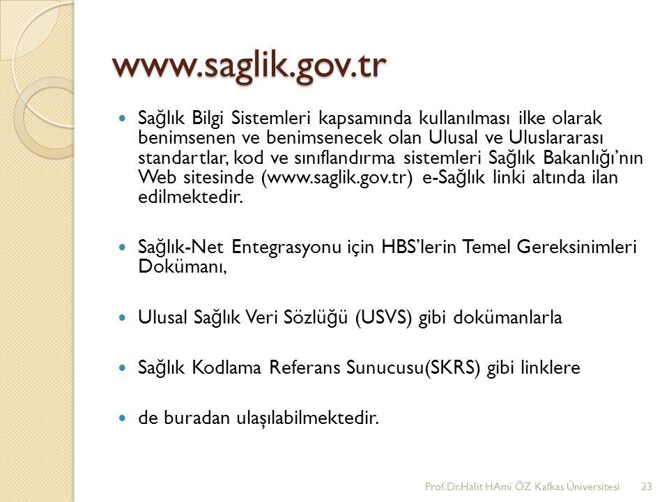 www.saglik.gov.tr Sa ğ lık Bilgi Sistemleri kapsamında kullanılması ilke olarak benimsenen ve benimsenecek olan Ulusal ve Uluslararası standartlar, ko