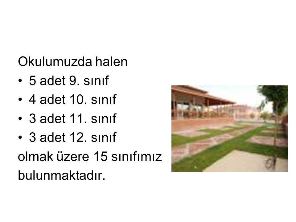 Okulumuzda halen 5 adet 9. sınıf 4 adet 10. sınıf 3 adet 11.