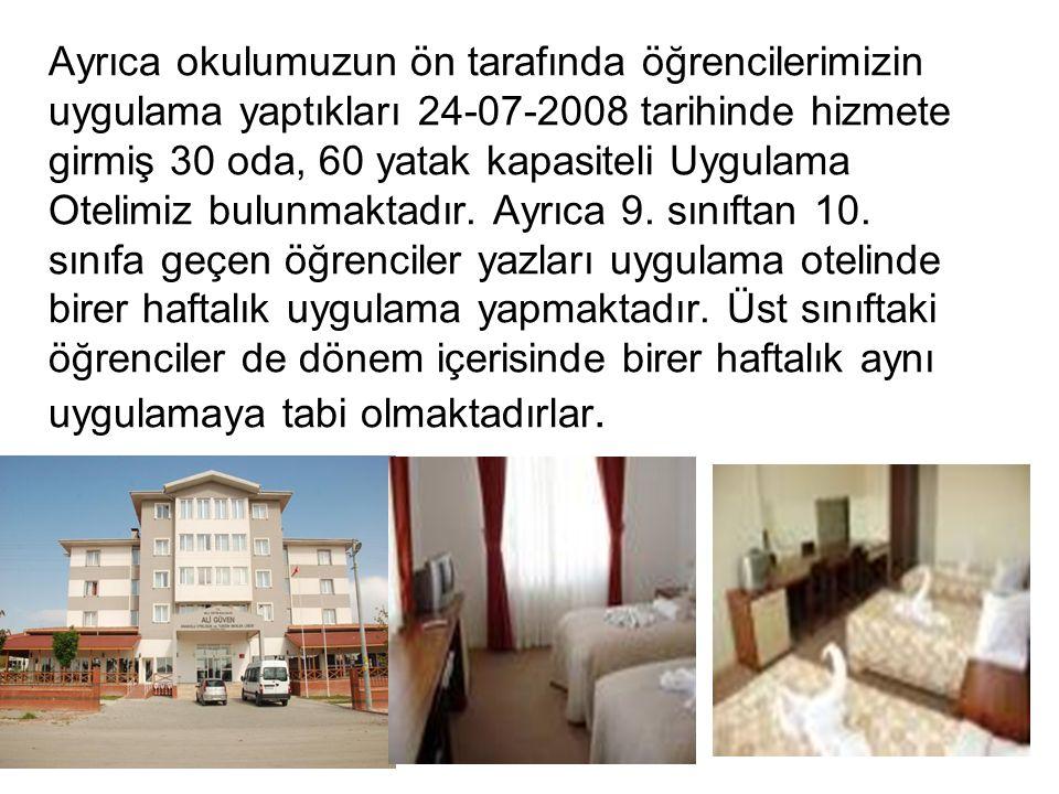 Ayrıca okulumuzun ön tarafında öğrencilerimizin uygulama yaptıkları 24-07-2008 tarihinde hizmete girmiş 30 oda, 60 yatak kapasiteli Uygulama Otelimiz bulunmaktadır.