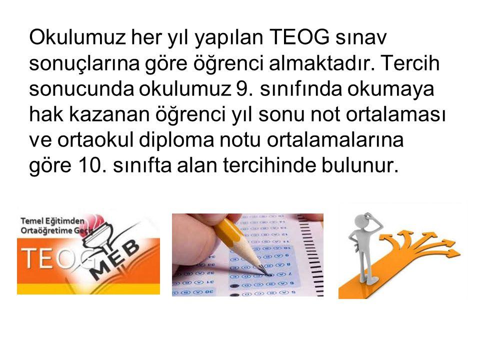 Okulumuz her yıl yapılan TEOG sınav sonuçlarına göre öğrenci almaktadır.