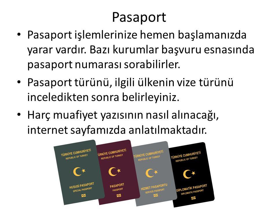 Pasaport Pasaport işlemlerinize hemen başlamanızda yarar vardır. Bazı kurumlar başvuru esnasında pasaport numarası sorabilirler. Pasaport türünü, ilgi