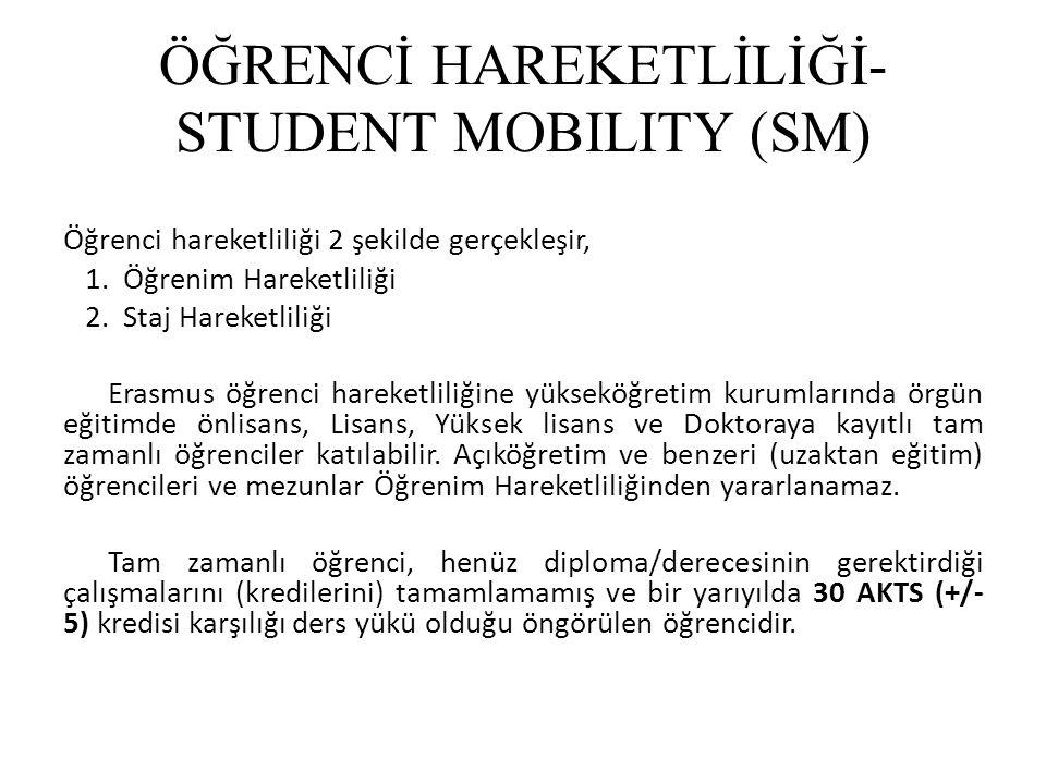 ÖĞRENCİ HAREKETLİLİĞİ- STUDENT MOBILITY (SM) Öğrenci hareketliliği 2 şekilde gerçekleşir, 1. Öğrenim Hareketliliği 2. Staj Hareketliliği Erasmus öğren