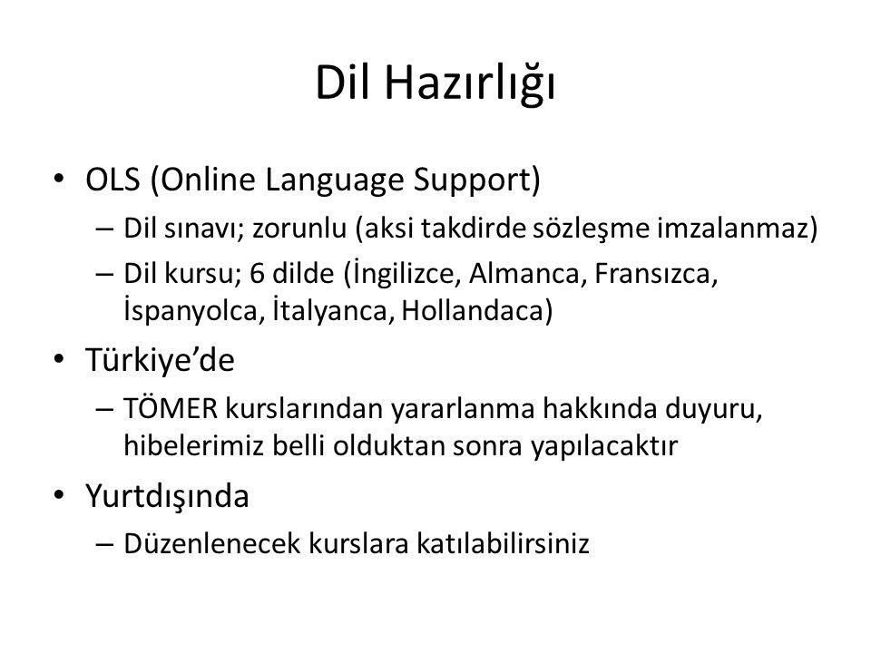 Dil Hazırlığı OLS (Online Language Support) – Dil sınavı; zorunlu (aksi takdirde sözleşme imzalanmaz) – Dil kursu; 6 dilde (İngilizce, Almanca, Fransı