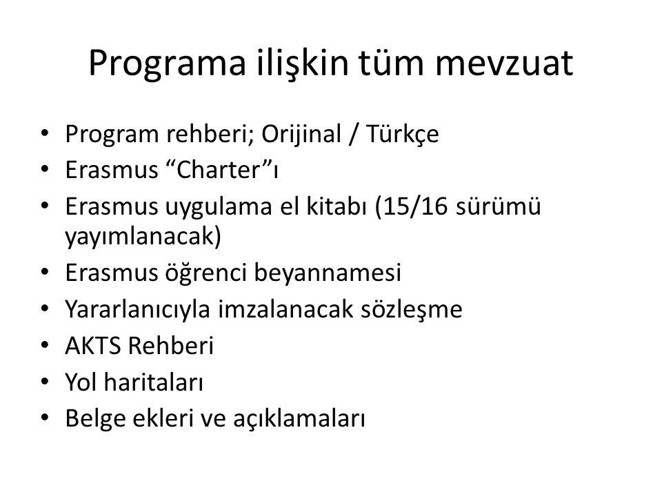 """Programa ilişkin tüm mevzuat Program rehberi; Orijinal / Türkçe Erasmus """"Charter""""ı Erasmus uygulama el kitabı (15/16 sürümü yayımlanacak) Erasmus öğre"""