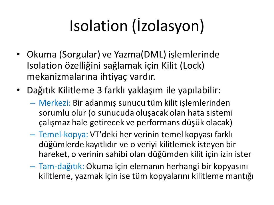 Isolation (İzolasyon) Okuma (Sorgular) ve Yazma(DML) işlemlerinde Isolation özelliğini sağlamak için Kilit (Lock) mekanizmalarına ihtiyaç vardır.