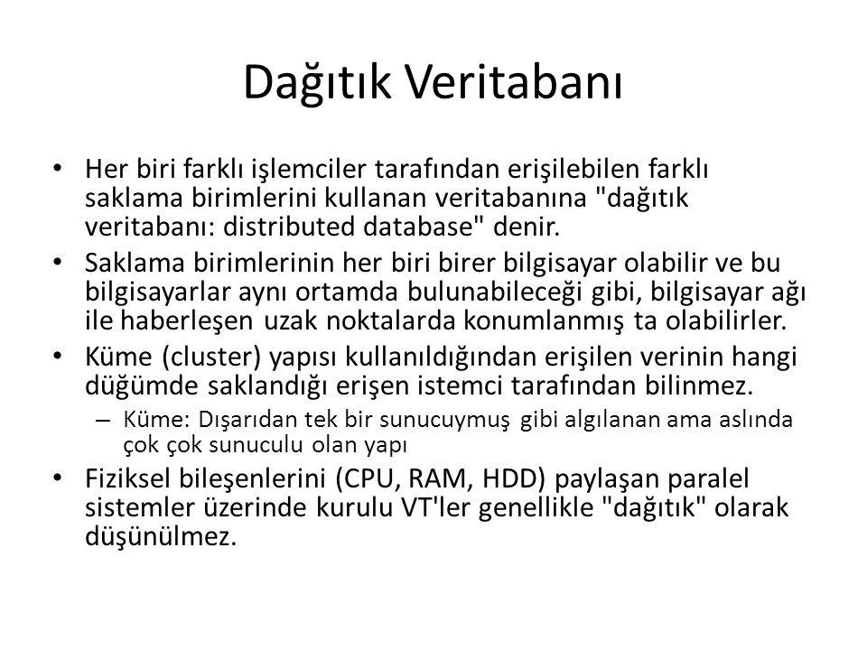 Dağıtık Veritabanı Her biri farklı işlemciler tarafından erişilebilen farklı saklama birimlerini kullanan veritabanına dağıtık veritabanı: distributed database denir.