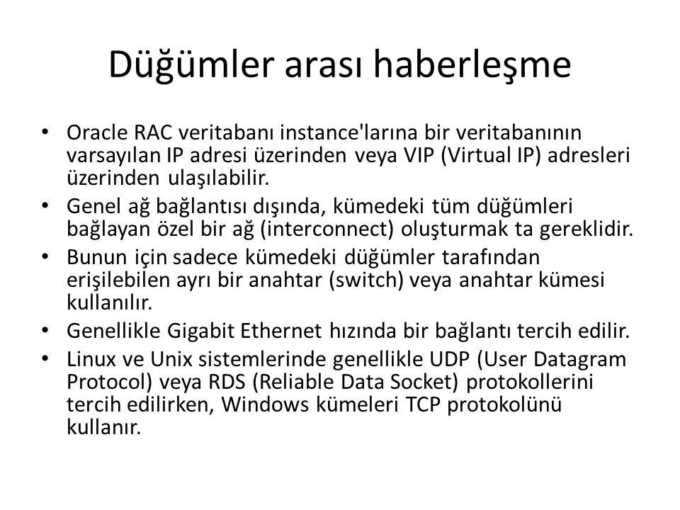 Düğümler arası haberleşme Oracle RAC veritabanı instance larına bir veritabanının varsayılan IP adresi üzerinden veya VIP (Virtual IP) adresleri üzerinden ulaşılabilir.