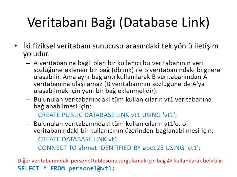Veritabanı Bağı (Database Link) İki fiziksel veritabanı sunucusu arasındaki tek yönlü iletişim yoludur.